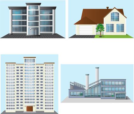 set van gebouwen: kantoor, huis, fabriek.