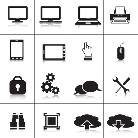 Computer icons: laptop, monitor, cloud technology, scan Vector