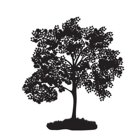 icon tree with lush foliage. Illustration