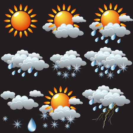 cloudy night sky: weather icons: sun, rain, snow, storm, clouds