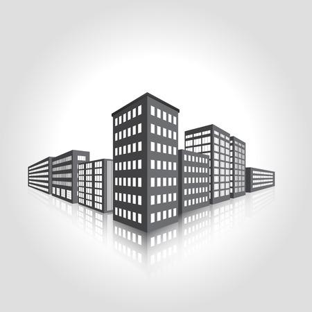 perspectief van de stad, de lichten in de ramen Stock Illustratie