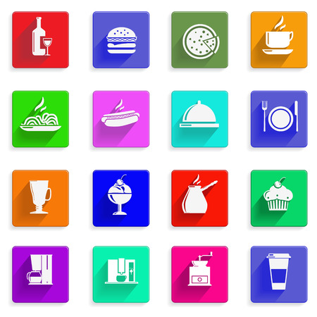 pasta fork:  set of flat icons with long shadows: hamburger, wine, a plate, coffee grinder