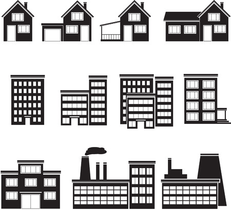school form: set of buildings: office, house, factory.
