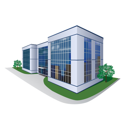 building business: the prospect of building, shopping center, office Illustration