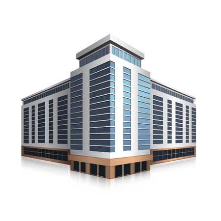 office building: separately standing office building, business center in perspective