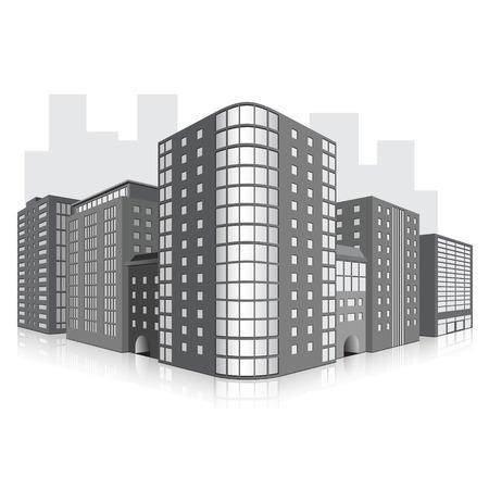 視点のオフィスビルと都市の通り  イラスト・ベクター素材