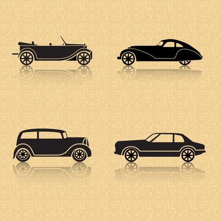 茶色の背景に反射とビンテージ車  イラスト・ベクター素材