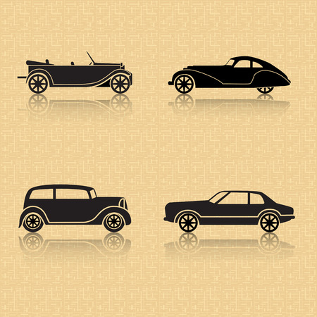 vintage car with reflection on a brown background Vector