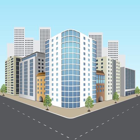 calle de la ciudad con edificios de oficinas en perspectiva Ilustración de vector