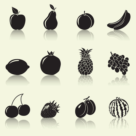 fruits and berries, silhouettes: apple, pear, banana with reflection Vector
