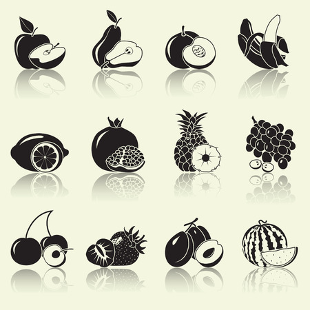 fruits and berries sectional, silhouettes: apple, pear, banana with reflection Vector