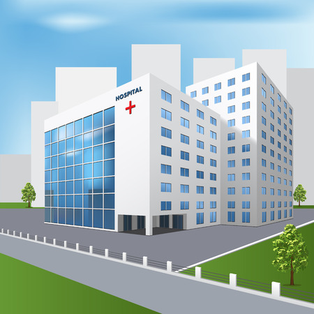 hospital cartoon: hospital building on a city street  with trees and road Illustration