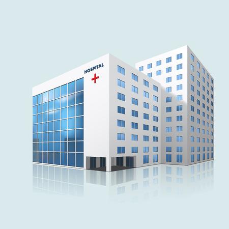 사무실 건물: 파란색 배경에 리플렉션과 함께 도시의 병원 건물