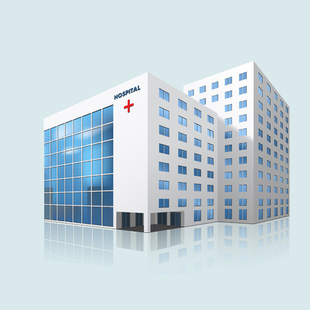 hospital cartoon: city hospital building with reflection on a blue background