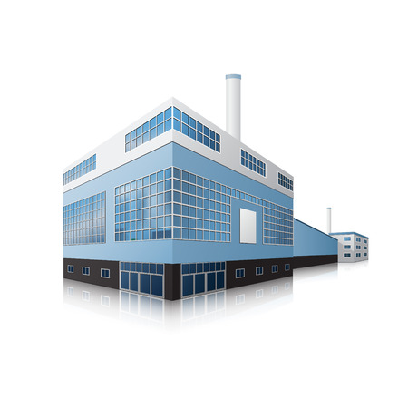 factory: factory building with offices, production facilities and reflection