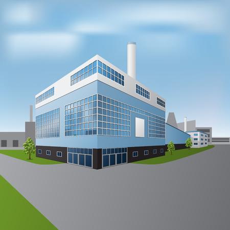 Fabrikgebäude mit Büros und Produktionsstätten in Sicht Standard-Bild - 27901278