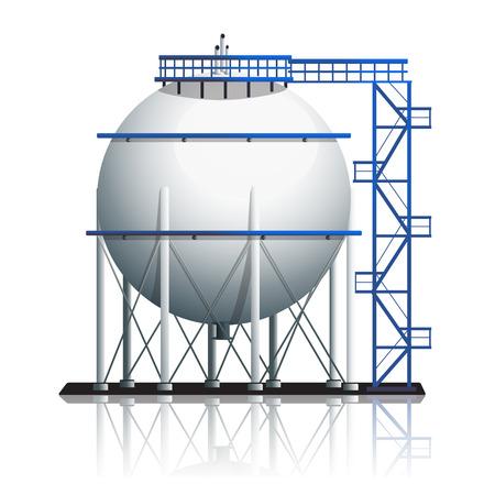 白の背景に反射と石油タンクのボール  イラスト・ベクター素材