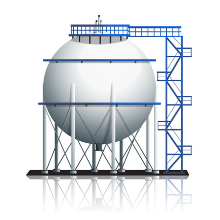 petroleum blue: oil tank ball with reflection on white background Illustration
