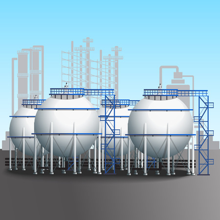 petroleum blue: refinery tank farm with pipelines, installations and shadows