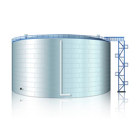 serbatoio verticale in acciaio con la riflessione su uno sfondo bianco