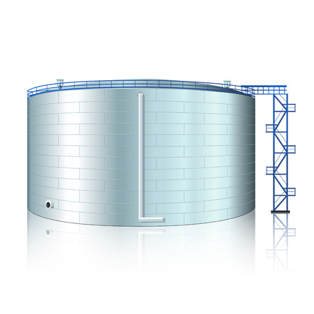 petroleum blue: vertical steel tank with reflection on a white background