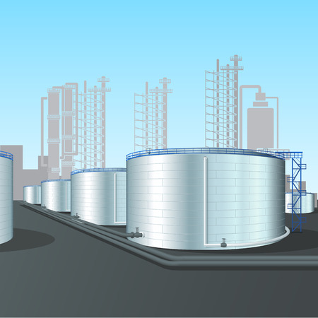 refinery tank farm with pipelines, installations and shadows