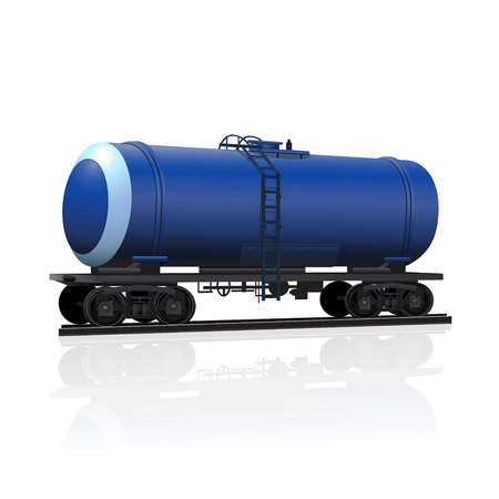 railway tank for transportation of petroleum products with reflection