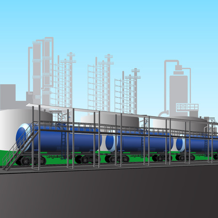 petroleum blue: railway tanks at the rack to load petroleum products Illustration