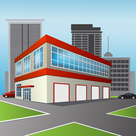 auto washing: service center and office on city background