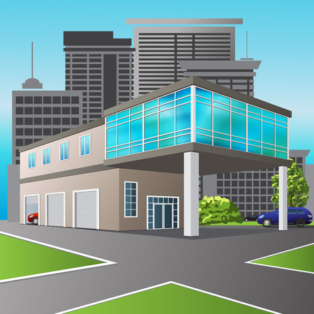 service center: service center and office on city background