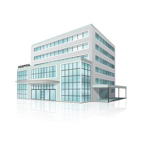 salud publica: edificio del hospital de la ciudad en perspectiva sobre fondo blanco