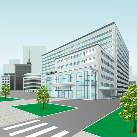 hospital building on a city street  with trees and road Ilustrace