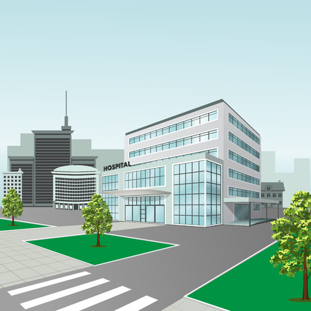 fashion building: hospital building on a city street  with trees and road Illustration