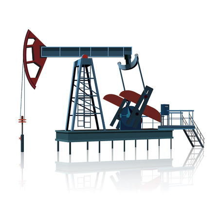 l petrol: rocking for oil on a metal platform with reflection on white background