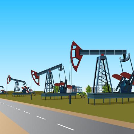 oilfield: oilfield: rocking for oil on a metal platform and road Illustration