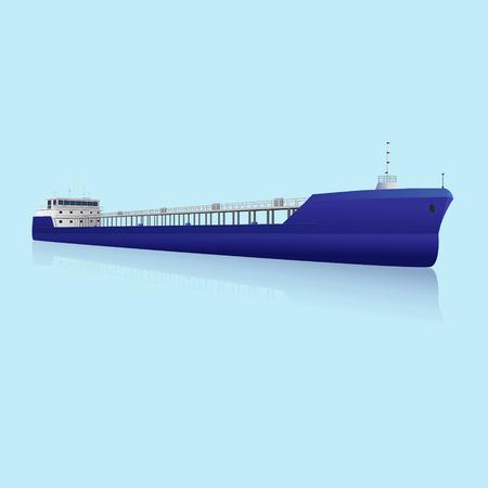 barge: marine oil tanker with reflection on blue background Illustration