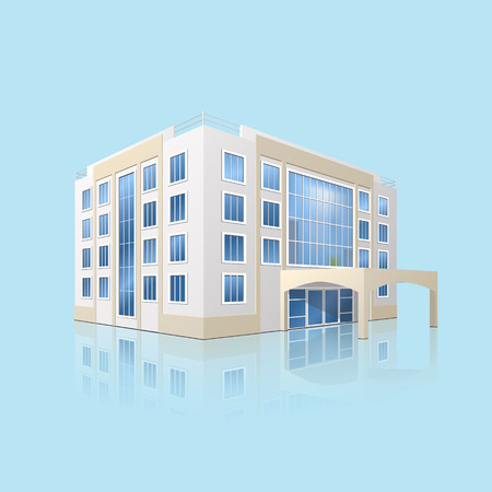 public hospital: city hospital building with reflection on a blue background