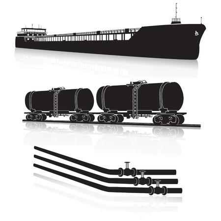 oil transportation: marine tanker, rail tanker, pipelines with reflection