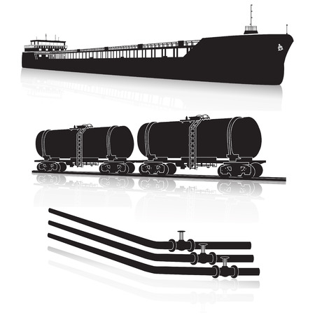 oil pipeline: oil transportation: marine tanker, rail tanker, pipelines with reflection