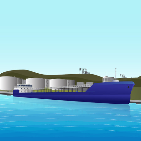 petroleum blue: sea ​​tanker loading at an oil storage with reflection  Illustration