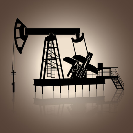 hydrocarbons: silhouette rocking for oil  with reflection on brown background Illustration