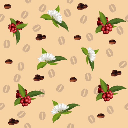handful: seamless pattern of the elements of coffee, grains, flowers, berries Illustration