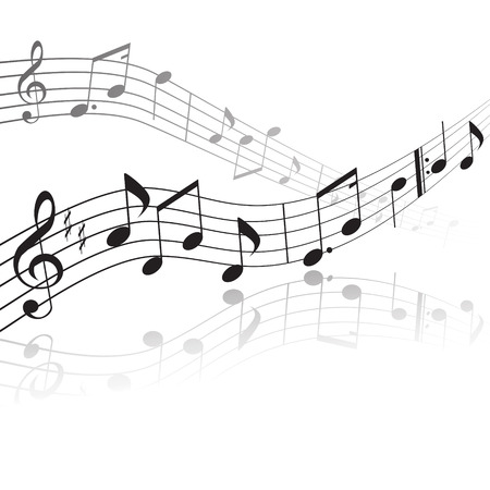 quavers: treble clef and notes on a stave with reflection Illustration