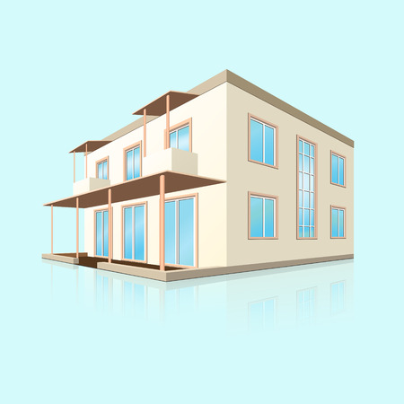 building a small hotel in perspective with reflection on blue background