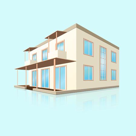 het bouwen van een klein hotel in perspectief met reflectie op blauwe achtergrond