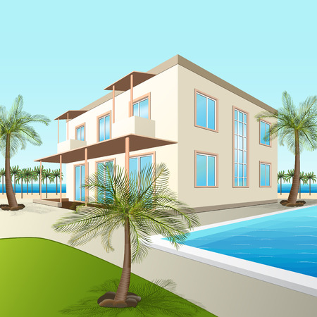 immovable: building a small hotel with sea and palm trees in perspective