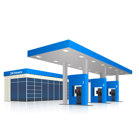 filling station with a small shop and reflection in perspective