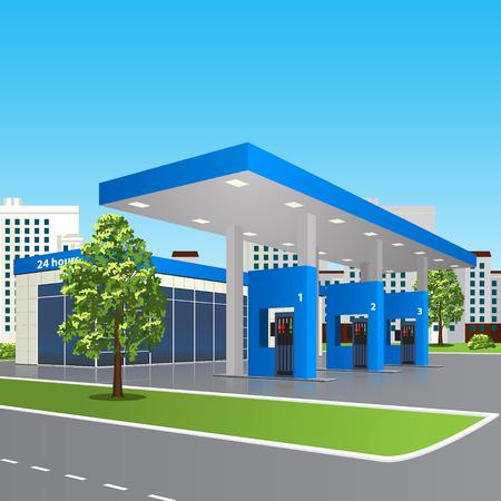 fuelling station: estación de servicio con una pequeña tienda y la reflexión en perspectiva sobre calle de la ciudad de fondo