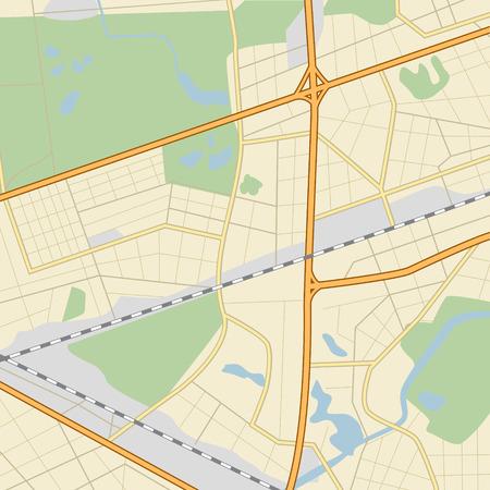 道路、公園、湖、川市内地図