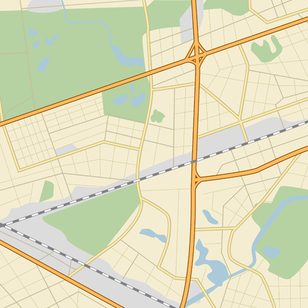 city ​​map with roads, parks, lakes and river Vector